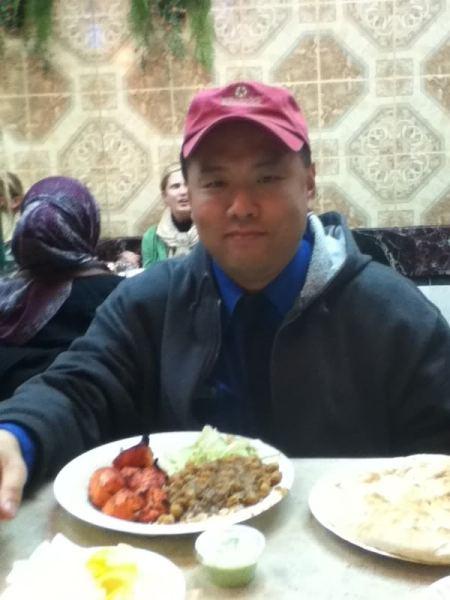 Having a bite after work at Kabob Palace.